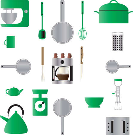 A Seamless Pattern of Kitchen Utensils,Pans,Scales,Coffee Maker,Scales,Mixer,Kettle,Grater and a Casserole Vector