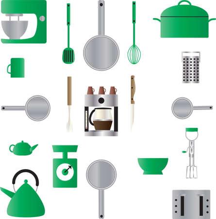 coffee maker: Un Patr�n sin fisuras de los utensilios de cocina, sartenes, escalas, Cafetera, escalas, Mixer, Caldera, rallador y una cazuela Vectores