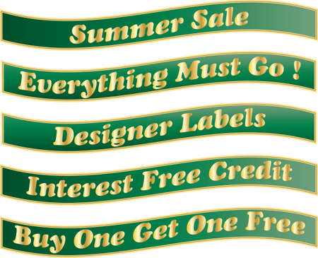 Green and Gold Banners for shop window display advertising a summer sale