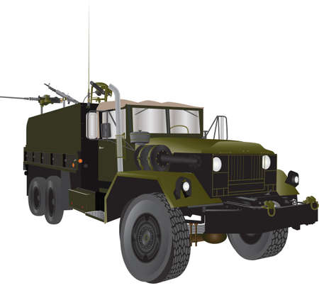 A Vintage Army Truck from the Vietnam War era with three heavy machine guns isolated on white