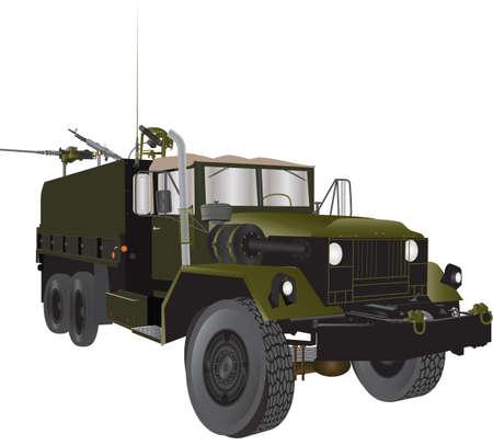 vietnam war: A Vintage Army Truck from the Vietnam War era with three heavy machine guns isolated on white