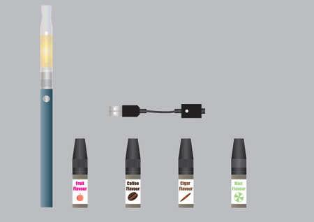 cigarette case: An Electronic Cigarette, Vapour Liquids and Battery Charger