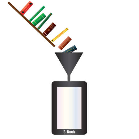 An Electronic Book Reader being filled with books through a funnel