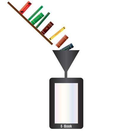 Un livre électronique Lecteur étant rempli de livres à travers un entonnoir