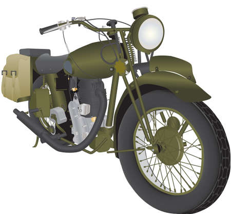 world war two: A Vintage World War Two Army Motorbike isolated on white