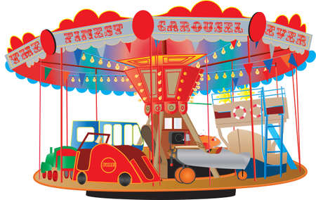 A Vintage Fairground Roundabout or Carousel with a fire engine,airplane,ship,bus,steam engine and a car isolated on white.