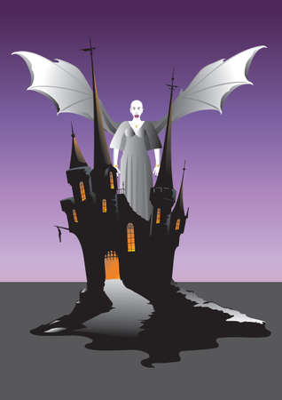 A Winged Vampire Woman on the battlements of a castle