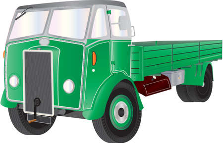 A Green Vintage Truck isolated on White