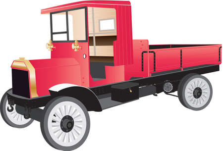 twentieth: A Red Veteran Truck or Pick-up from the early Twentieth Century isolated on white