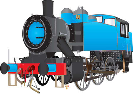 steam locomotive: A Blue Switcher or Shunting Steam Railway Locomotive isolated on white Illustration