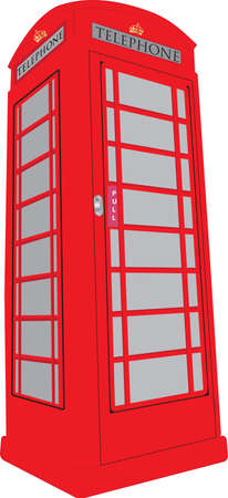 red telephone box: A Vintage British Red Public Telephone Box isolated on white Illustration