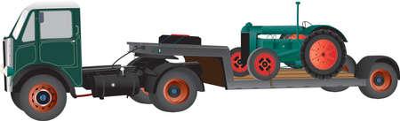old tractor: Een Vintage Knik vrachtwagen met een oude Landbouw tractor op wit wordt geïsoleerd