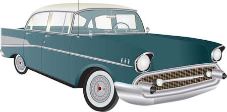 A Vintage American automobile from the 1950s isolated on white