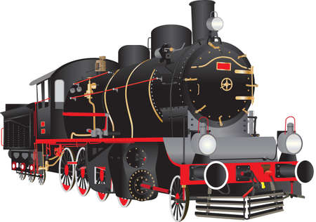 A Vintage Black and Red Steam Locomotive isolated on white Vector Illustration