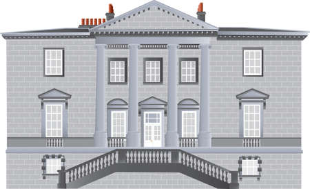 country house style: An English Country House built in the Palladian Style with ionic pillars and portico and an ornate staircase isolated on white Illustration