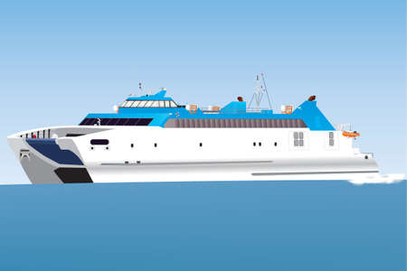 A Blue and White Catamaran Car Ferry travelling at speed