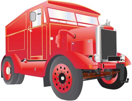 old tractor: Een Heavy Duty Rood en Goud Fairground Generator en Tow Truck geïsoleerd op wit