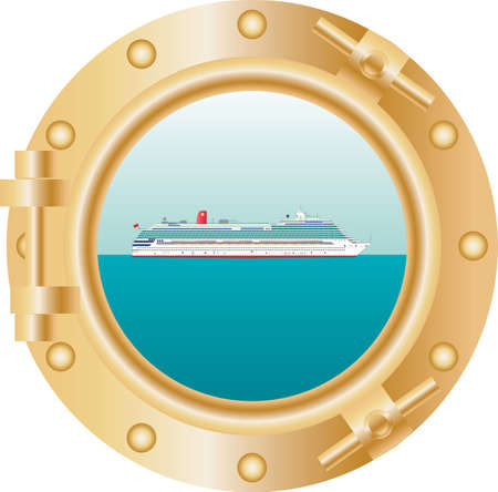 A View through a ships porthole of a cruise liner on a tropical sea Illustration