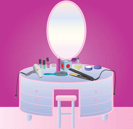 A Womans Dressing Table with Hair drier,Makeup,Perfume,Nail Varnish,Hair Straighteners and a Hair Brush
