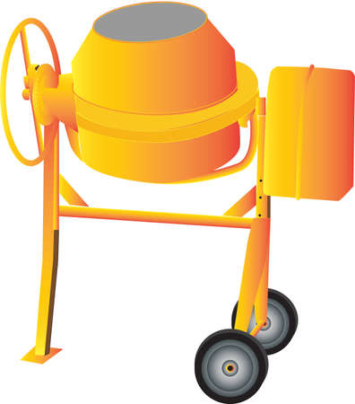 cement mixer: An Orange Cement Mixer isolated on White