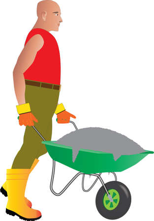 A Construction Site Worker pushing a wheelbarrow full of cement Illustration