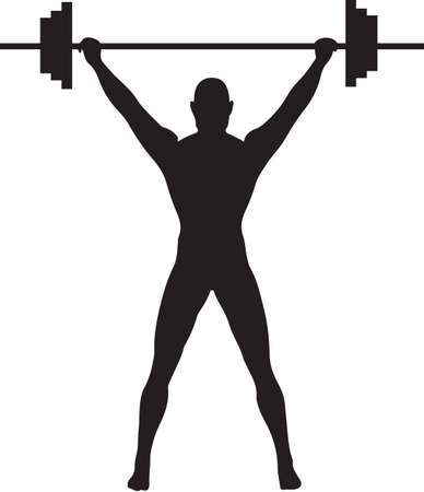 weight lifter: A Silhouette of a weightlifter pressing weights