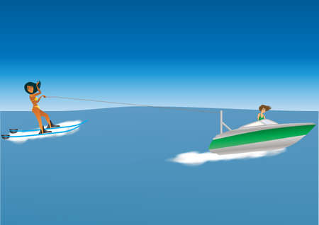 driven: Cartoon of a woman water skiing behind a speedboat driven by a woman
