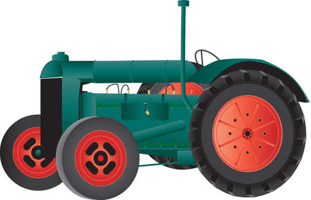 A Green Vintage Farm Tractor isolated on white Illustration