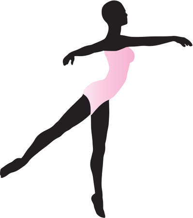 leotard: A Silhouette of a Woman Ballet Dancer in a pink leotard performing an arabesque Illustration
