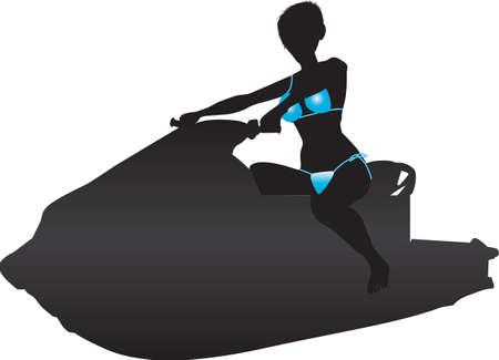 jetski: A Silhouette of a woman in a blue bikini riding a jetski Illustration