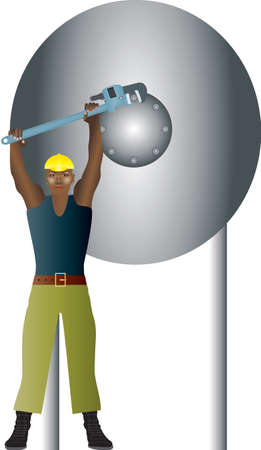 An Engineer undoing bolts on a pressure vessel with a wrench