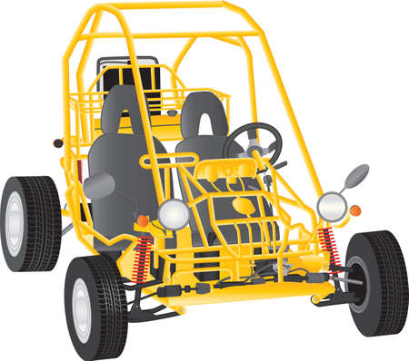 buggy: A Yellow Beach Buggy isolated on white
