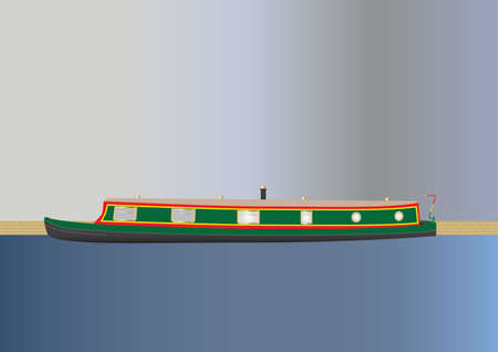 barge: A Green and Red Narrowboat or barge