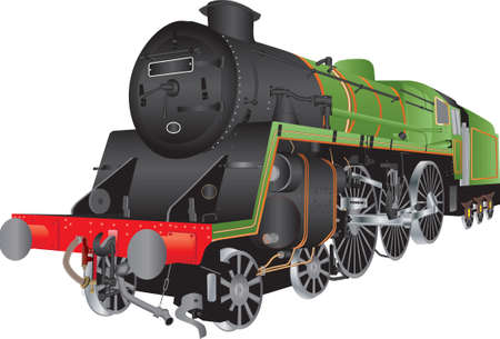 railway transports: A Green and Black Steam Passenger Locomotive isolated on white