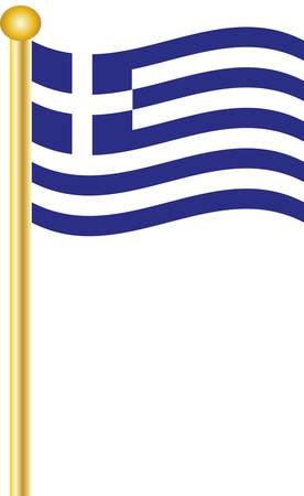 флагшток: A Greek Flag flying on a gold flagpole