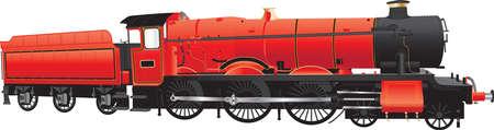 steam locomotive: A Red Vintage Steam Locomotive isolated on white