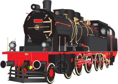 A Veteran Heavy Steam Freight Railway Locomotive isolated on white Illustration