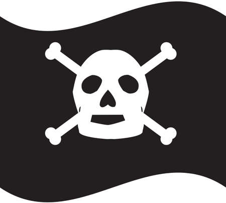 A Skull and Crossbones Pirate Flag isolated on white
