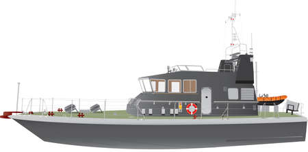 A Grey Naval Patrol Boat isolated on white