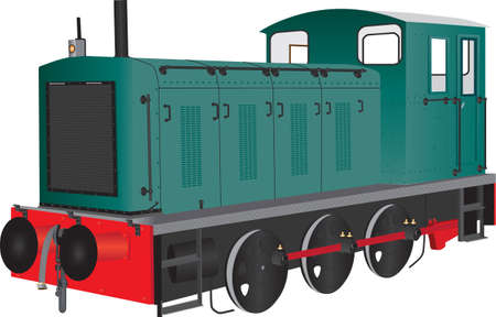 switcher: A Green Diesel Shunting Locomotive isolated on white