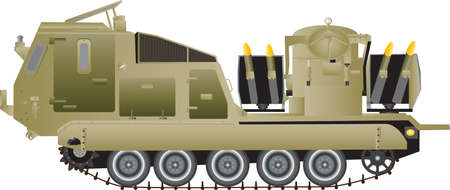 tracked: A Tracked Armoured Missile Launching Vehicle isolated on white Illustration