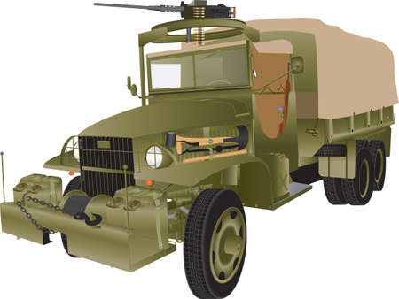 An Army Truck armed with a machine gun isolated on white Illustration