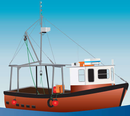 An Orange and White Inshore Fishing Boat with a blue sky background Illustration