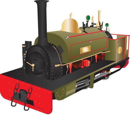 the locomotive isolated: A Vintage Narrow Gauge Steam Locomotive isolated on white Illustration