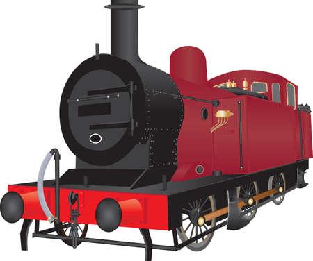 Un vapor rojo de la vendimia Locomotora aislado en blanco