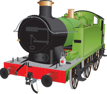 the locomotive isolated: A Green and Black Steam Shunting Locomotive isolated on white