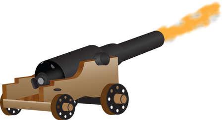 firing: An Eighteenth Century Cannon Firing isolated on white