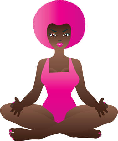 A Cartoon Woman in the Yoga Position isolated on white