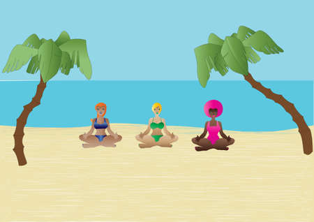 Three Cartoon Woman in the yoga Lotus Position on a Tropical Beach