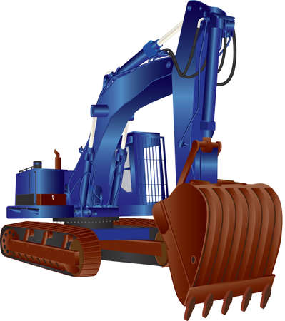 A Heavy Blue Tracked Excavator isolated on white Illustration